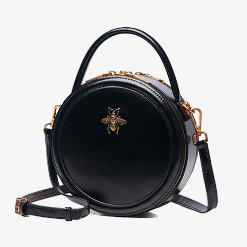 Bumblebee Black Round Leather Crossbody Bags - Annie Jewel