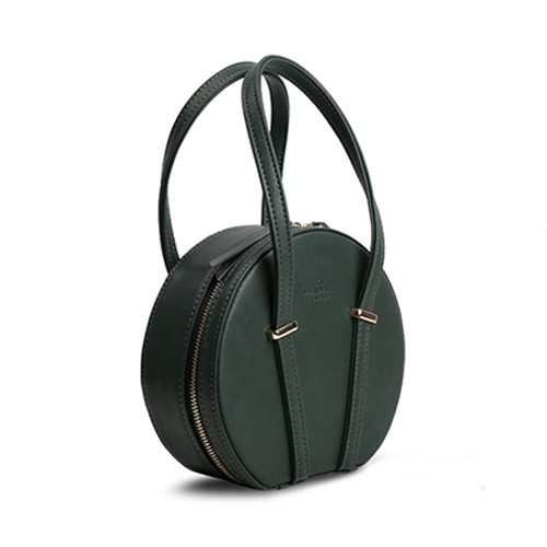 Green Round Leather Purse Small Circle Shoulder Bag - Annie Jewel