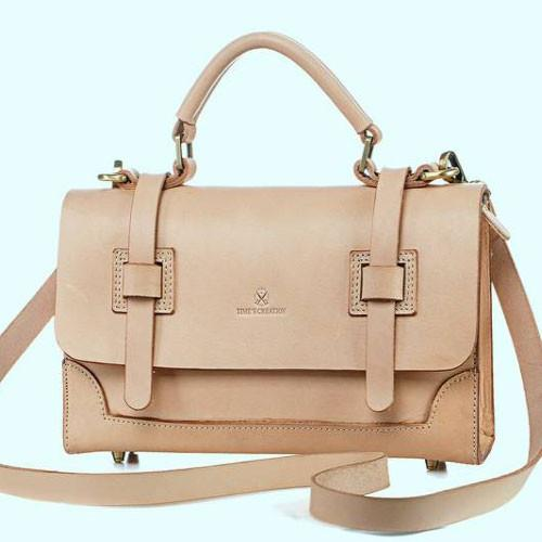 Genuine Beige Leather Small Satchel Handle Bag Purse - Annie Jewel