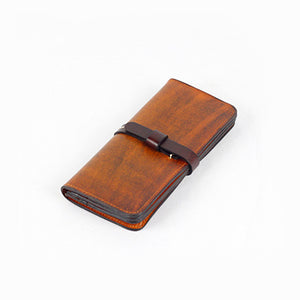 Genuine Leather Wallet Handmade Womens Long Folded Wallet Clutch Phone Purse Clutch