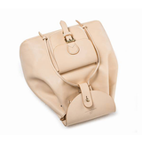 Personalized Beige Leather Drawstring Bucket Backpack Book Bag Purse - Annie Jewel