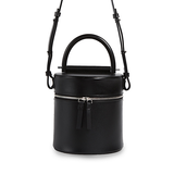 Small Black Canteen Bucket Cylinder Bag Purse - Annie Jewel