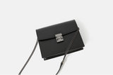 Black Leather Small Flap Square Crossbody Bag Purse - Annie Jewel