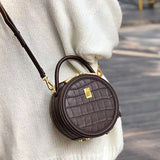 Chic Leather Circle Bag Round Purses Crossbody Bags - Annie Jewel