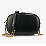 Small Black Round Leather Circle Shoulder Bags - Annie Jewel