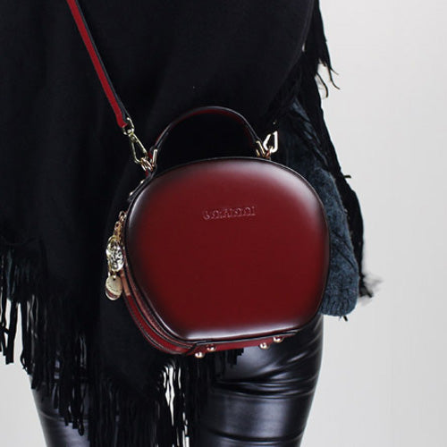 Red Leather Circle Bag Round Crossbody Shoulder Bags Purses Clutch