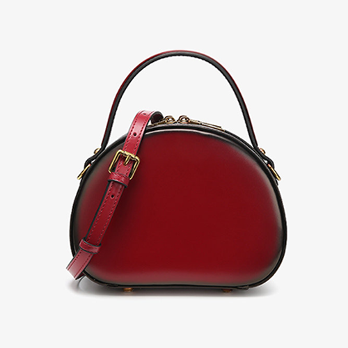 Handle Round Leather Crossbody Bags - Annie Jewel