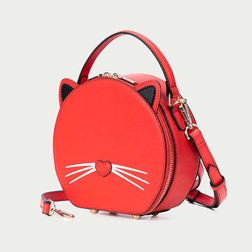 Cute Kitty Leather Circle Round Purses Crossbody Bags - Annie Jewel