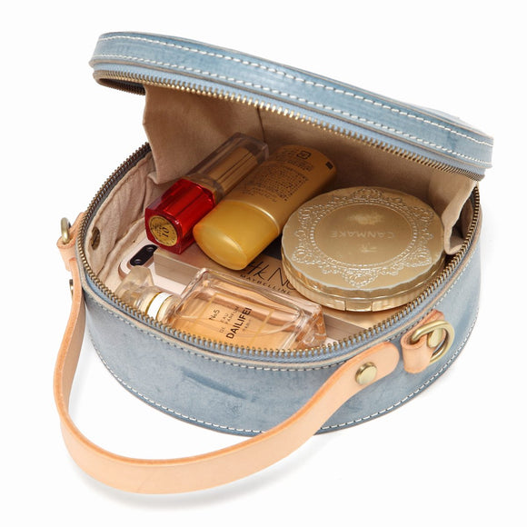 Foggy Leather Round Shaped Purse Circular Handbag Crossbody Bag