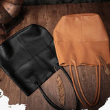 "Brown Leather 13"" Totes Shopper Shoulder Bags Purses - Annie Jewel"