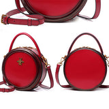 Red Circle Bag Round Shoulder Bags Small Leather Circle Cross Body Bag - Annie Jewel