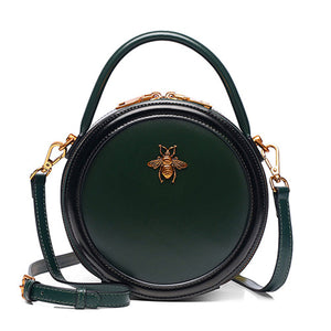 Green Circle Bumblebee Handle Bag Small Round Purse Shoulder Bag - Annie Jewel