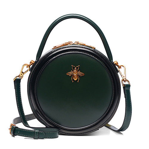Green Genuine Leather Circle Round Purses Crossbody Bags