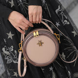 Brown Genuine Leather Circle Round Purses Crossbody Bags - Annie Jewel