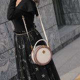 Black Round Bags Leather Canteen Bag Circle Crossbody Bag Purse - Annie Jewel