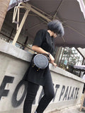 Black Circle Round Shoulder Bags - Annie Jewel