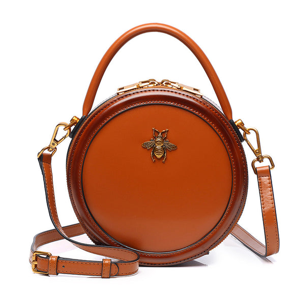 Leather Bumblebee Circle Round Leather Purse Crossbody Bag - Annie Jewel