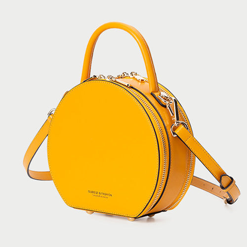 Yellow Leather Circle Round Purses Crossbody Bags