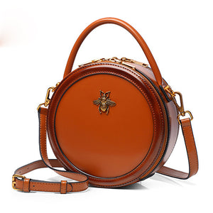 Leather Bumblebee Circle Round Crossbody Bag - Annie Jewel