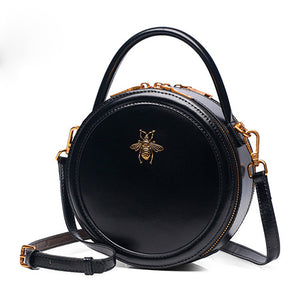 Black Round Leather Crossbody Bags - Annie Jewel