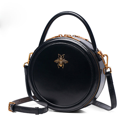 Black Genuine Leather Circle Round Purses Crossbody Bags - Annie Jewel