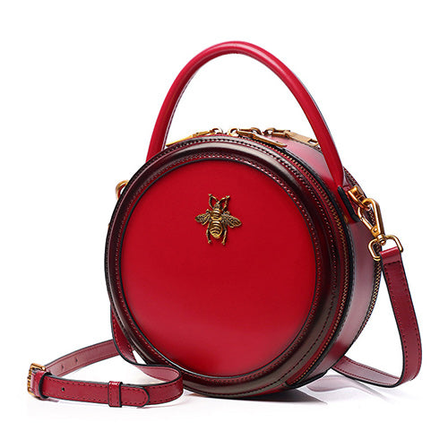Red Genuine Leather Circle Round Purses Crossbody Bags