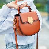 Genuine Leather Rivet Circle Bag Crossbody Round Purses - Annie Jewel