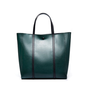 "Genuine Leather Vertical 12"" Tote Shopper Bags For Work - Annie Jewel"