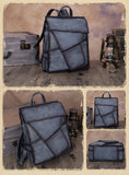 "Geometric Genuine Leather 14"" Backpack Travel Bag Purse - Annie Jewel"