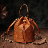 Brown Bucket Bag Drawstring Bucket Bag Leather Bucket Handbag Purse - Annie Jewel