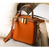 Leather Structured Satchel Square Crossbody Bag - Annie Jewel
