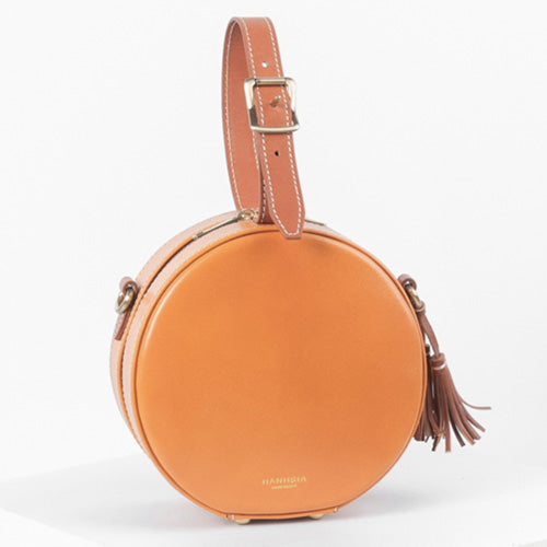 Circle Clutch Bag Round Leather Purse Round Shoulder Bag - Annie Jewel