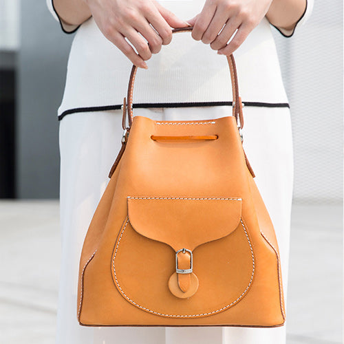 Tan Bucket Bag Leather Bucket Handbag Madewell Bucket Bag Purse - Annie Jewel