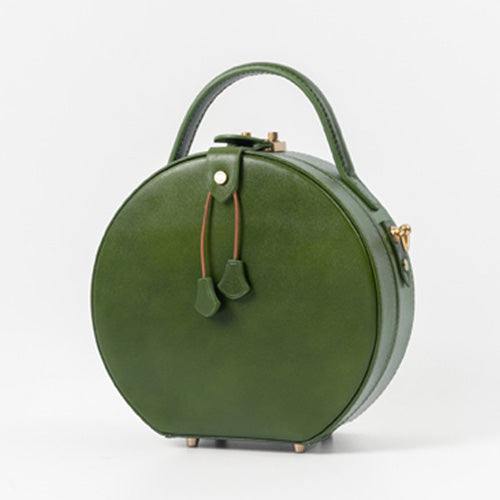 Green Handmade Leather Circle Bag Round Purses Crossbody Bags