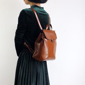 Handmade Brown Leather Backpack Handbags Womens Shoulder Crossbody Bags Clutch Purse