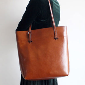 Womens Leather Vertical Tote Bag Best Leather Tote Bags - Annie Jewel