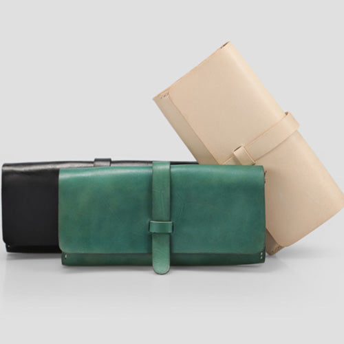 Handmade Genuine Leather Folded Wallet Phone Purses