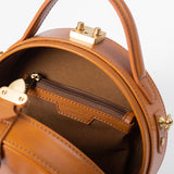 Handmade Leather Circle Bag Round Clutch Crossbody Bag Purse