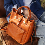 Handmade Orange Leather Satchel Handbags Tote Purses