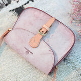 Handmade Pink Leather Satchel Saddle Crossbody Bag Purse - Annie Jewel
