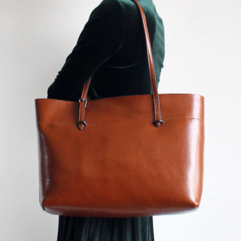 Handmade Brown Leather Totes Bags Shopper Shoulder Bags Purses