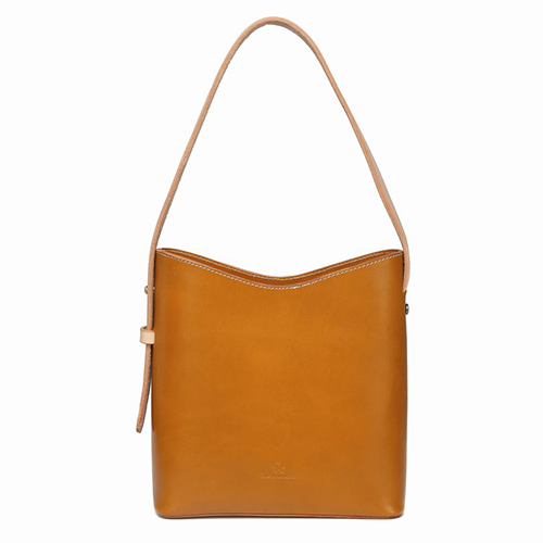 Handmade Vegetable Tanned Leather Small Minimal Buckt Tote Bag Purse - Annie Jewel