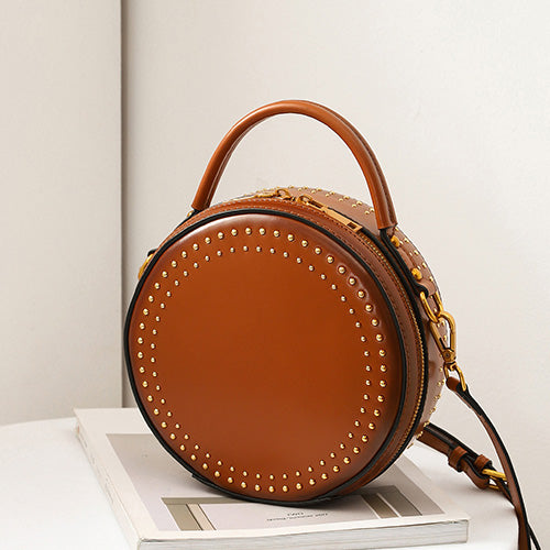 Round Leather Circle Crossbody Purse - Annie Jewel