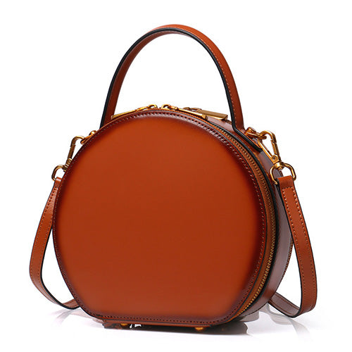 772dac8a4 Brown Leather Circle Round Purses Crossbody Bags - Annie Jewel ...