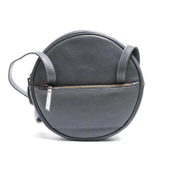 Black Circle Bag Round Leather Purse Shoulder Round Tote Bag - Annie Jewel