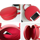 Red Circle Bag Round Leather Purse Shoulder Circle Cross Body Bag - Annie Jewel