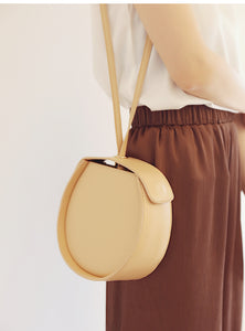 Beige Leather Circle Bag Clutch Round Purses Bags