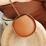 Brown Leather Circle Bag Clutch Round Purse Bag