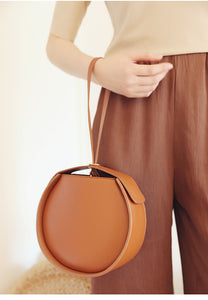 Brown Leather Circle Bag Clutch Round Purse Bag - Annie Jewel