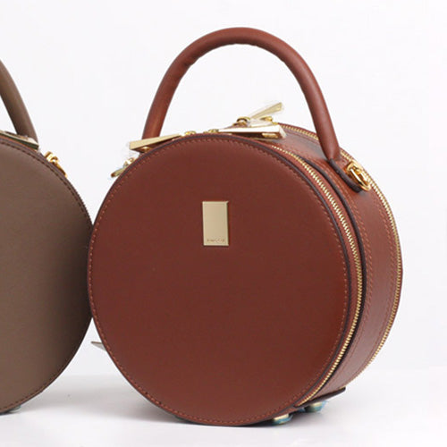 Leather Circle Bag Caramel Circle Purse Crossbody Handbag Clutch Bags